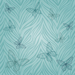 seamless pattern with butterflies of abstract striped background. Œ