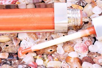 Lip gloss closeup on seashells background
