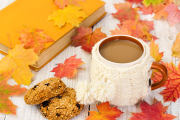 Cup of coffee and oatmeal cookies on background with autumn leav
