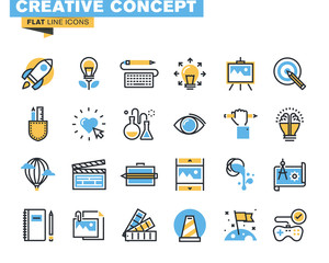 Trendy flat line icon pack for designers and developers. Icons for creative process, design, art, movie, photography, literature, painting, for websites and mobile websites and apps.