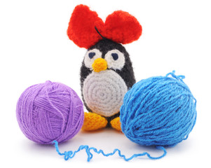 Knitted penguin.