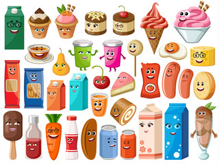Funny cartoon products with faces
