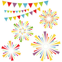 Vector fireworks and garlands