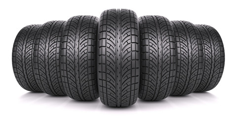 Car tires in row isolated on white background 3d Wall mural