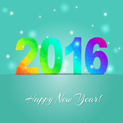 Happy new year 2016. Creative greeting card design template. Universal Vector background.