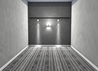 Stanza vuota con lampade e luci su parete