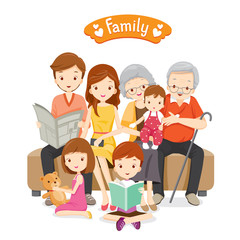 Happy Family Siting on Sofa and Floor, Relationship, Togetherness, Vacations, Holiday, Lifestyle