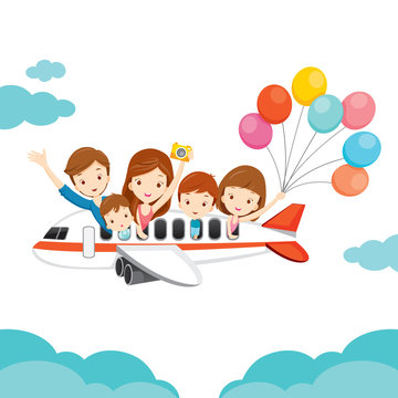 Family Happy on Airplane, Vacations, Holiday, Travel Destination, Journey Trips, Transportation