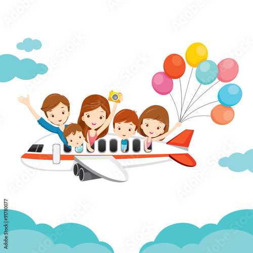 """Family Happy On Airplane, Vacations, Holiday, Travel"