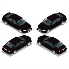 Flat 3d isometric high quality city transport icon set. Black car. Sedan automobile.
