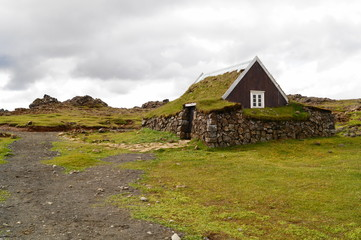 The traditional houses in Iceland