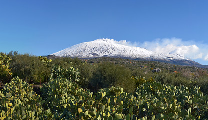 Southern part view of snow covered Etna volcano