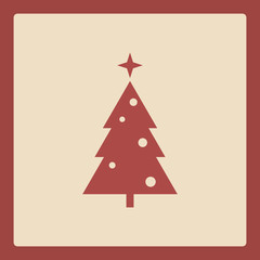 Simple christmas tree icon. Holiday background template
