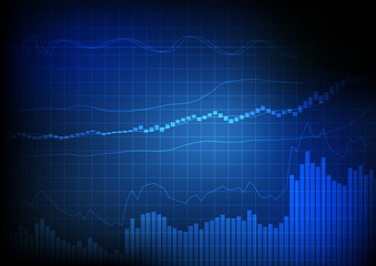Vector : Business bar chart and line chart on grid blue backgrou