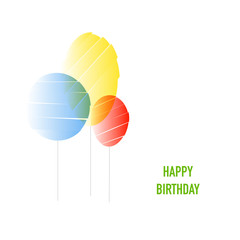 Three abstract baloons and text