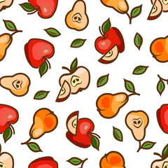 apples and pears seamless pattern