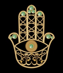 Golden Miriam hand with eye shape in filigree design with green  emerald gem, amulet of protection
