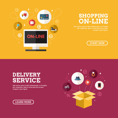 Shopping On-line. Delivery Service. Set of Flat Design Concepts for Web Banners and Promotional Materials