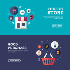 The Best Store. Good Purchase. Set of Flat Design Concepts for Web Banners and Promotional Materials