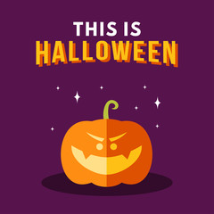 Halloween Vector Illustration with Pumpkin and Text This Is Halloween