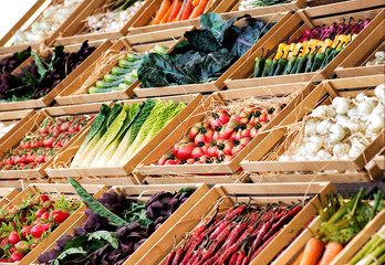 Display of fresh vegetables on a market stall