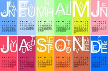 Colorful jazzy 2015 calendar, vector, eps 10