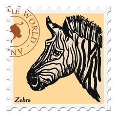 stamp with zebra