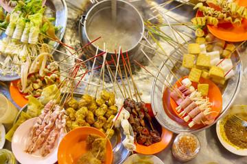 Traditional lok-lok street food from Asia