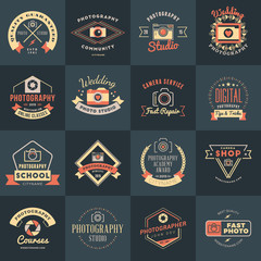 Vector Set of Photography Logo Design Templates. Photography Retro Vintage Badges and Labels.  Wedding Photography. Photo Studio. Camera Shop. Photography Community