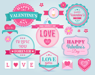Set Of  Happy Valentine's Day badges and labels