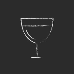Glass of wine icon drawn in chalk.