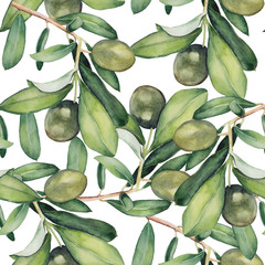 watercolor seamless background with green olive branches. original floral pattern
