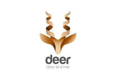 Head Deer Logo abstract geometric design vector Animal