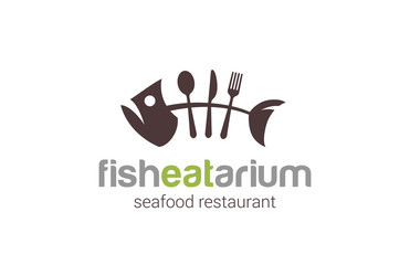 Fish seafood restaurant Logo creative design vector