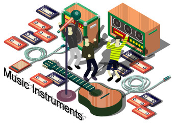 illustration of info graphic music instruments concept in isometric graphic