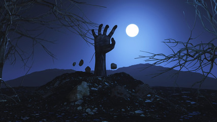 3D zombie hand bursting out of the ground