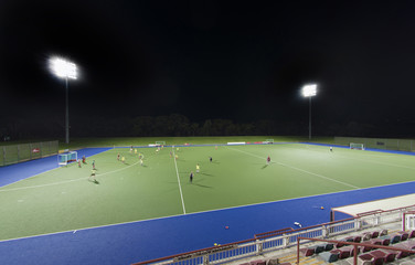 Sports field at night with lights
