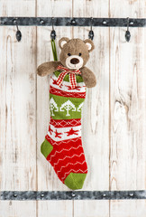 Cute Teddy Bear with christmas stocking sock decoration