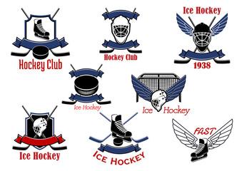 Ice hockey sport game icons and symbols