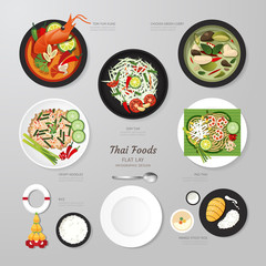 Infographic Thai foods business flat lay idea. Vector