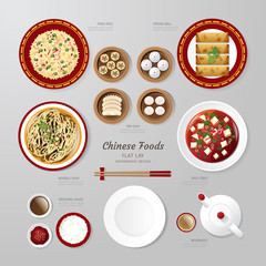 Infographic China foods business flat lay idea. Vector
