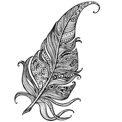 hand drawn line art of feather with ornaments