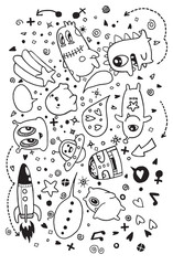 Hand drawn Aliens and Monsters cartoon doodle