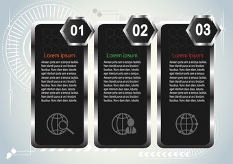 Vector template Infographic Hi-tech  dark silver