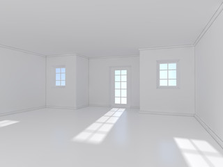 white room with window 3D rendering
