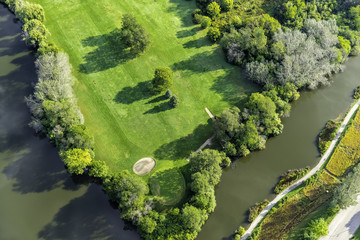 Golf course aerial view from above