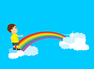 Young boy trying to cross a rainbow bridge