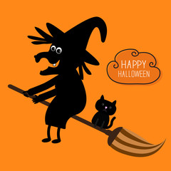 Happy Halloween witch and black cat silhouette. Cloud in the sky. Orange background. Flat design