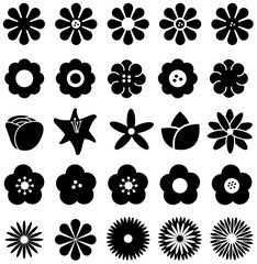 Flower such as rose tulip sunflower daisy and other silhouette icon set, create by vector