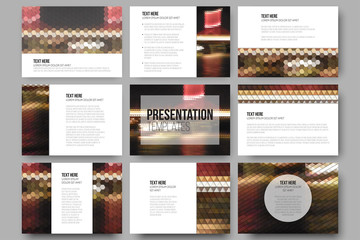 Set of 9 templates for presentation slides. Night lights in the